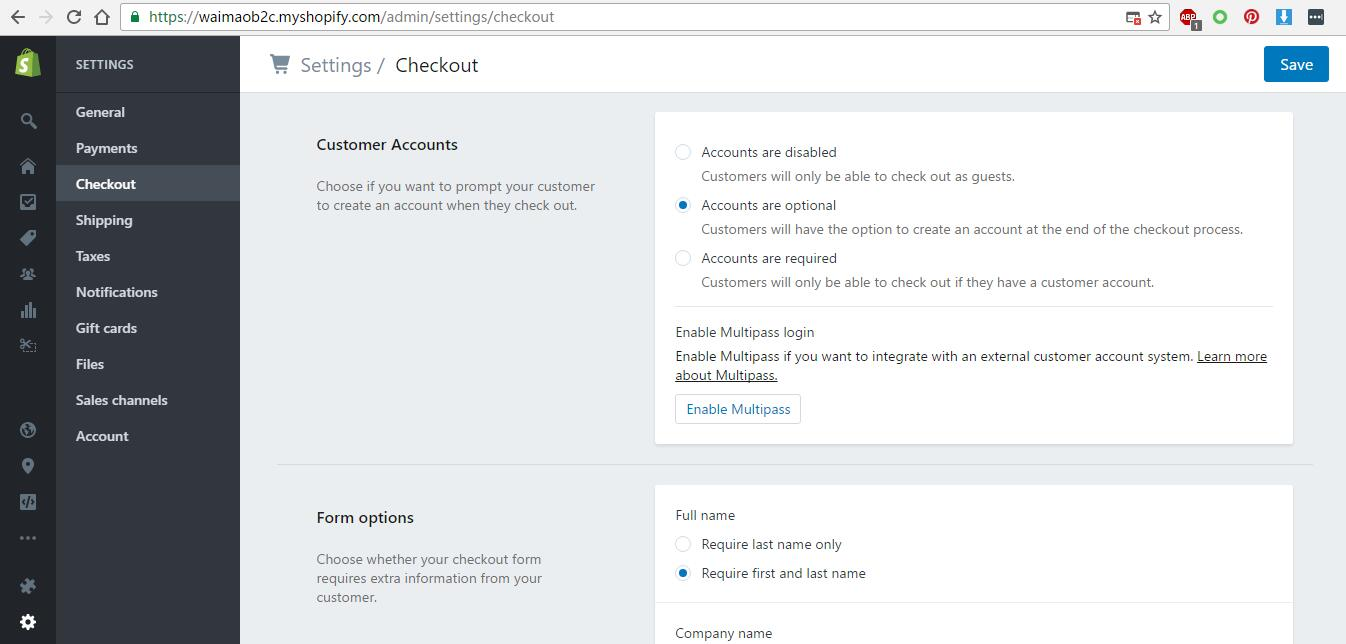 Shopify开店教程 - Checkout设置