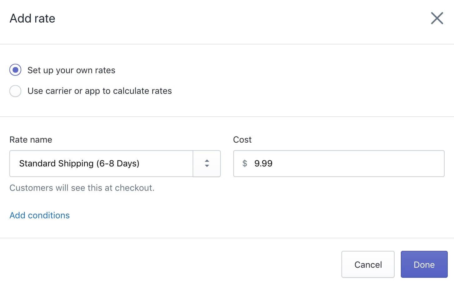 Shopify运费设置