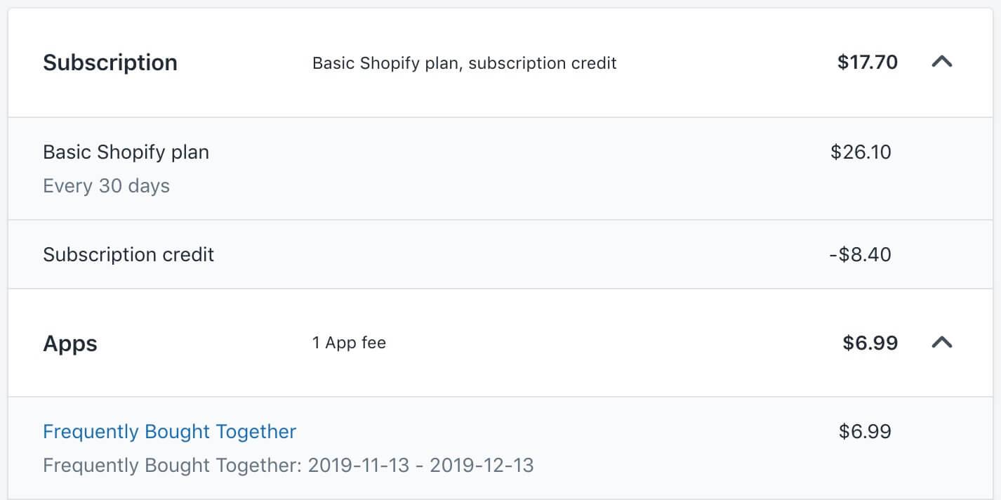 Shopify账单设置