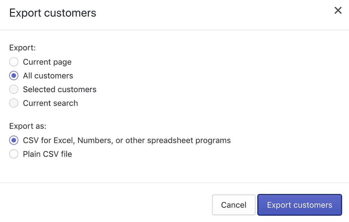 Shopify客户信息备份