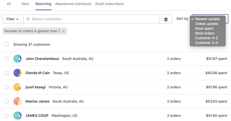 Shopify客户分组