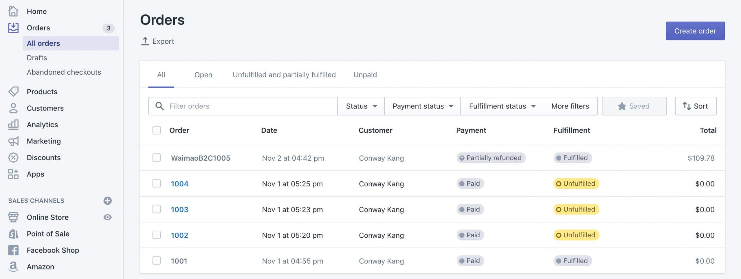 Shopify订单退款